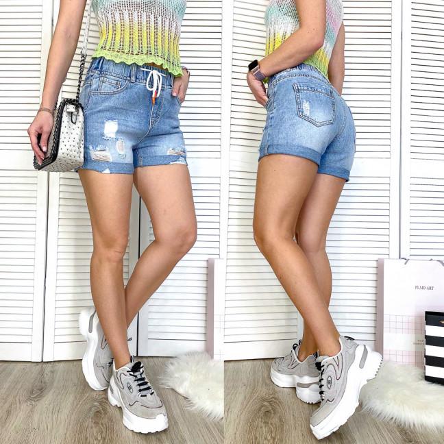 3712 New Jeans шорты джинсовые женские на резинке синие коттоновые (25-30, 6 ед.) New Jeans: артикул 1106969