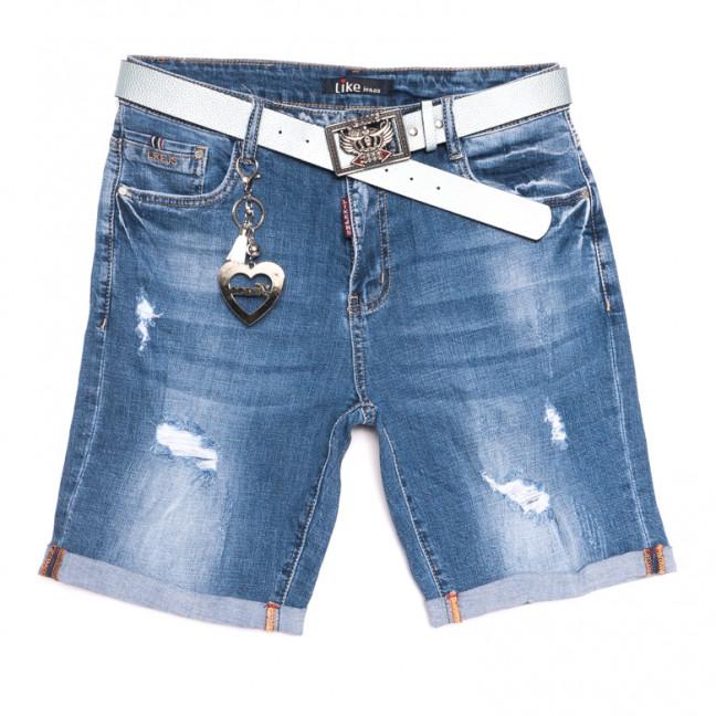 6217 Like шорты джинсовые женские батальные с рванкой синие стрейчевые (31-38, 6 ед.) Like: артикул 1107661