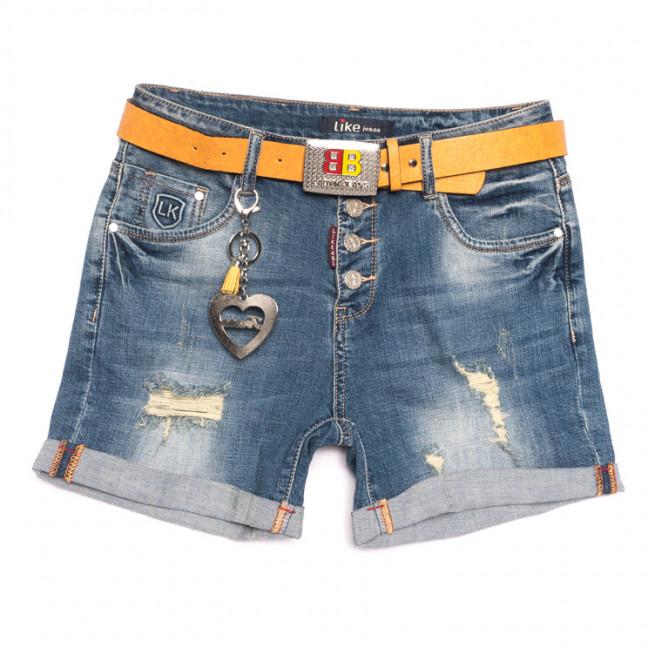 6209 Like шорты джинсовые женские полубатальные с рванкой синие стрейчевые (28-33, 6 ед.) Like: артикул 1107657