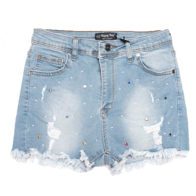 0724 Happy Pink шорты джинсовые женские с рванкой синие стрейчевые (26-31, 8 ед.) Happy Pink: артикул 1108475