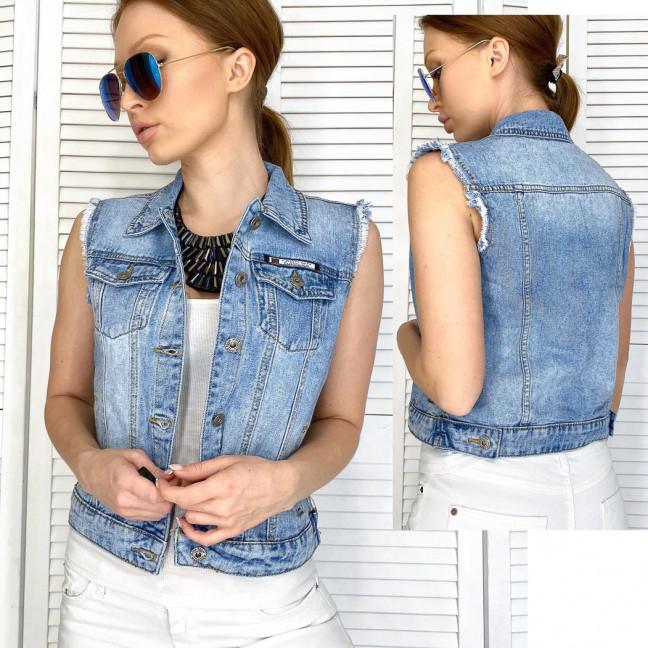 0822 New Jeans жилетка джинсовая женская синяя весенняя коттоновая (XS-XXL, 6 ед.) New Jeans: артикул 1105131