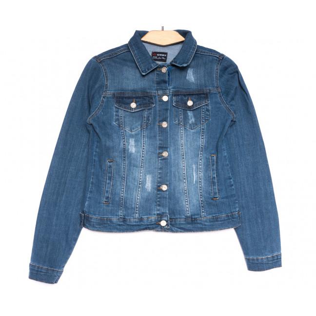 0372 Groof куртка джинсовая женская с царапками синяя весенняя коттоновая (М-2XL, 4 ед.) Groff: артикул 1107622