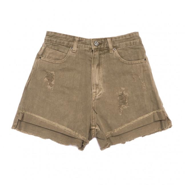 9026-11 хаки Saint Wish шорты джинсовые женские с рванкой коттоновые (25-30, 6 ед.) Saint Wish: артикул 1108145