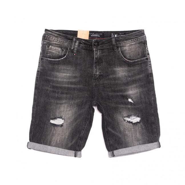 2258 Fang шорты джинсовые мужские молодежные с рванкой темно-серые стрейчевые (28-34, 8 ед.) Fang: артикул 1107651