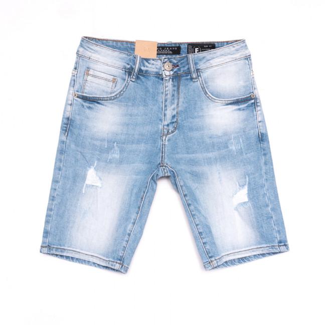 2227 Fang шорты джинсовые мужские молодежные с рванкой синие стрейчевые (28-34, 8 ед.) Fang: артикул 1107636