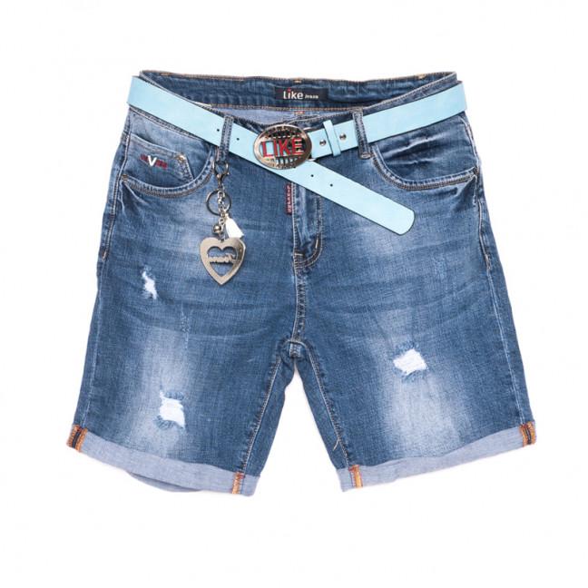 6215 Like шорты джинсовые женские батальные с рванкой синие стрейчевые (31-38, 6 ед.) Like: артикул 1107660