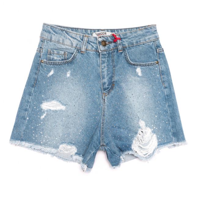5000 Gecce шорты джинсовые женские с рванкой синие коттоновые (34-42,евро, 6 ед.) Gecce: артикул 1108285