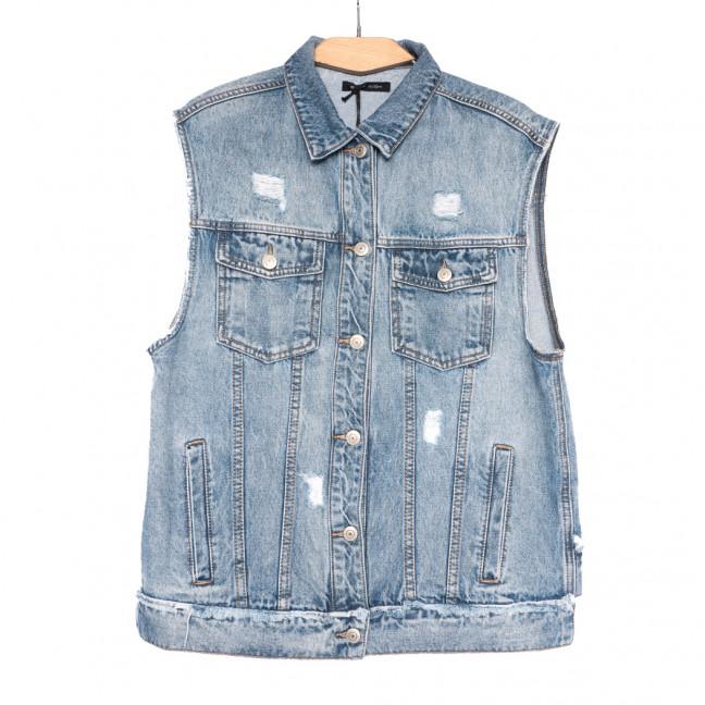 9011 Saint Wish жилетка женская джинсовая с рванкой синяя весенняя стрейчевая (XS-XL, 5 ед.) Saint Wish: артикул 1108208