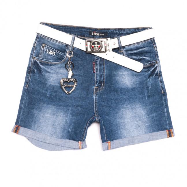 6216 Like шорты джинсовые женские батальные с царапками синие стрейчевые (31-38, 6 ед.) Like: артикул 1107658