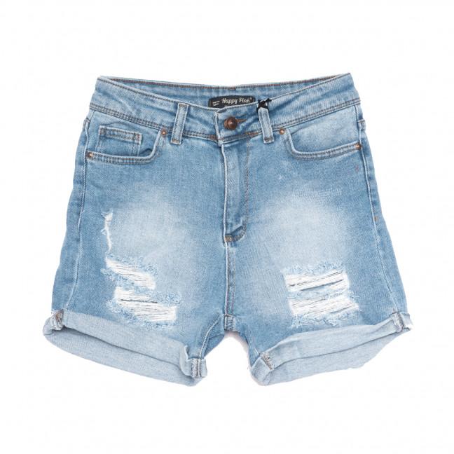 0809 Happy Pink шорты джинсовые женские с рванкой синие коттоновые (26-31, 6 ед.) Happy Pink: артикул 1108290