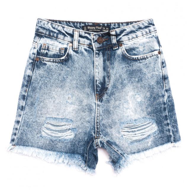 0742 Happy Pink шорты джинсовые женские с рванкой синие коттоновые (26-31, 8 ед.) Happy Pink: артикул 1108292