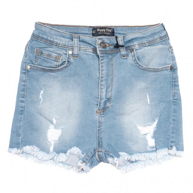 0724 Happy Pink шорты джинсовые женские c рванкой синие стрейчевые (26-31, 8 ед.) Happy Pink: артикул 1108487