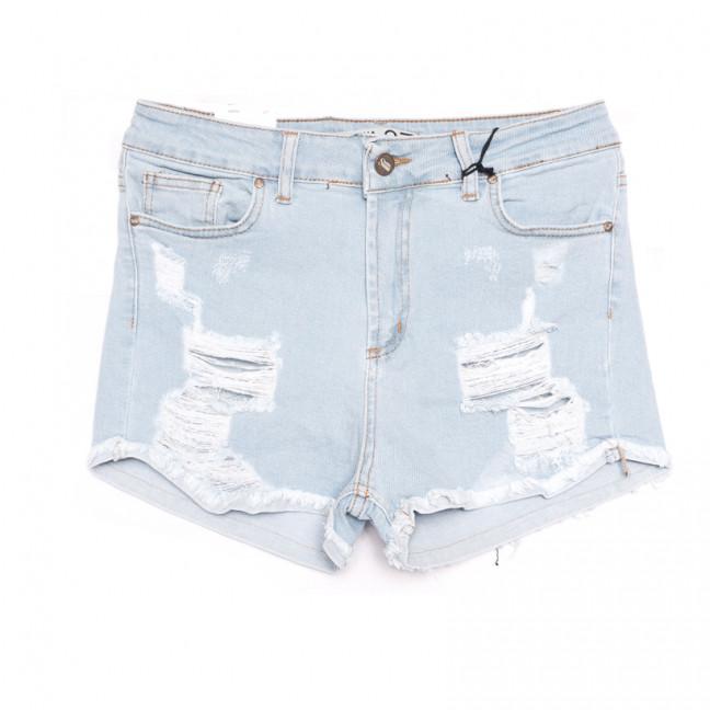 19160 Sasha шорты джинсовые женские с рванкой синие стрейчевые (26-31, 8 ед.) Sasha: артикул 1107724