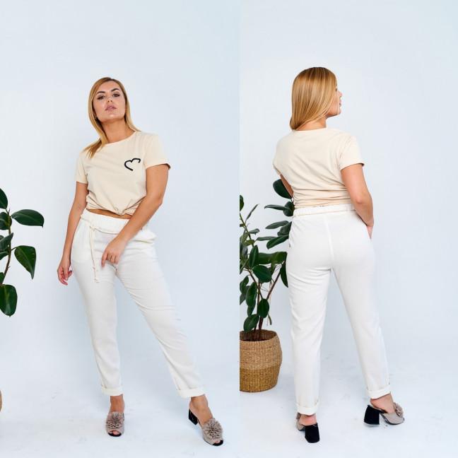 19801-1 молочные брюки женские батальные из льна коттоновые (4 ед. размеры: 50.52.54.56) Брюки: артикул 1107811
