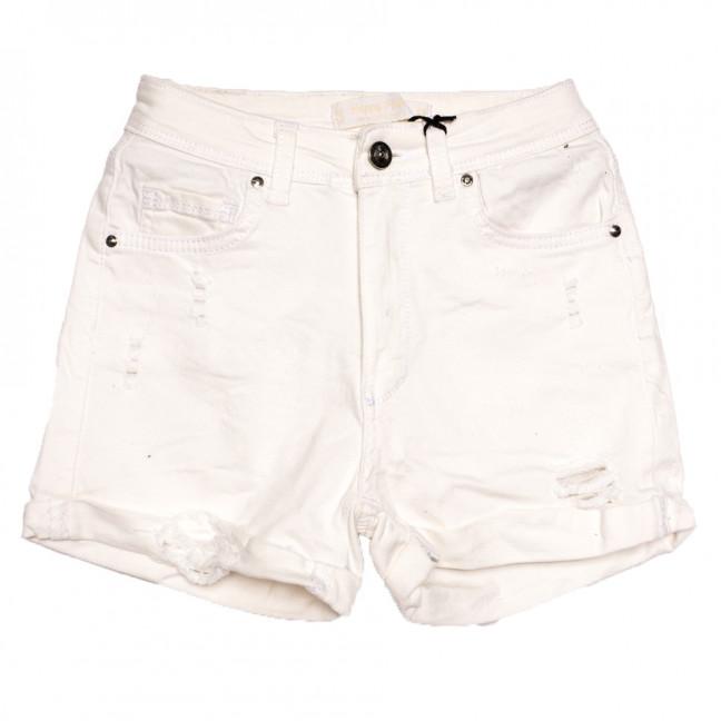 0807 Happy Pink шорты джинсовые женские c рванкой белые стрейчевые (26-31, 8 ед.) Happy Pink: артикул 1108474
