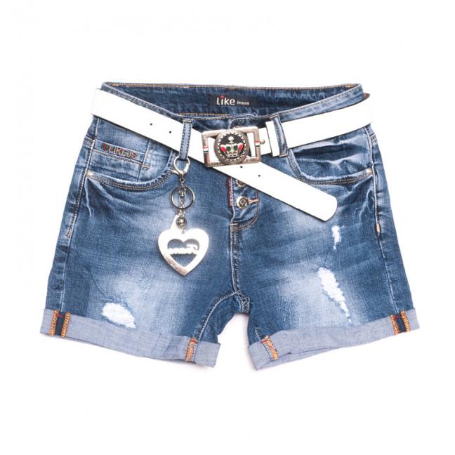 6207 Like шорты джинсовые женские с рванкой синие стрейчевые (25-30, 6 ед.) Like: артикул 1107662