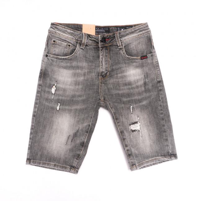 2260 Fang шорты джинсовые мужские с рванкой серые стрейчевые (29-36, 8 ед.) Fang: артикул 1107653
