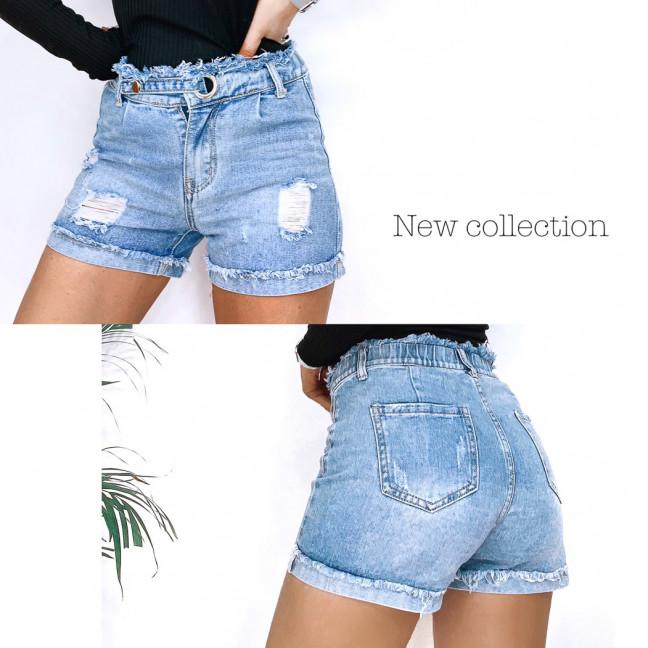 3711 New Jeans шорты джинсовые женские с рванкой синие коттоновые (25-30, 6 ед.) New Jeans: артикул 1106964