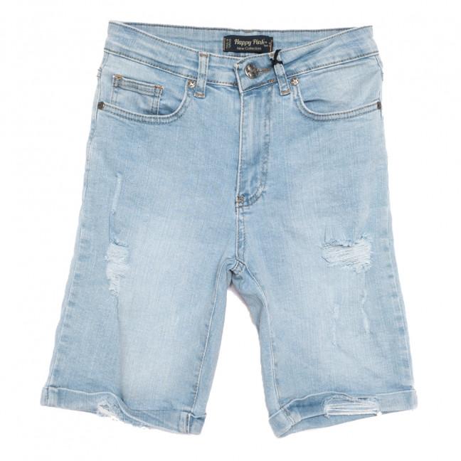 0677 Happy Pink шорты джинсовые женские c рванкой синие стрейчевые (26-30, 7 ед.) Happy Pink: артикул 1108488