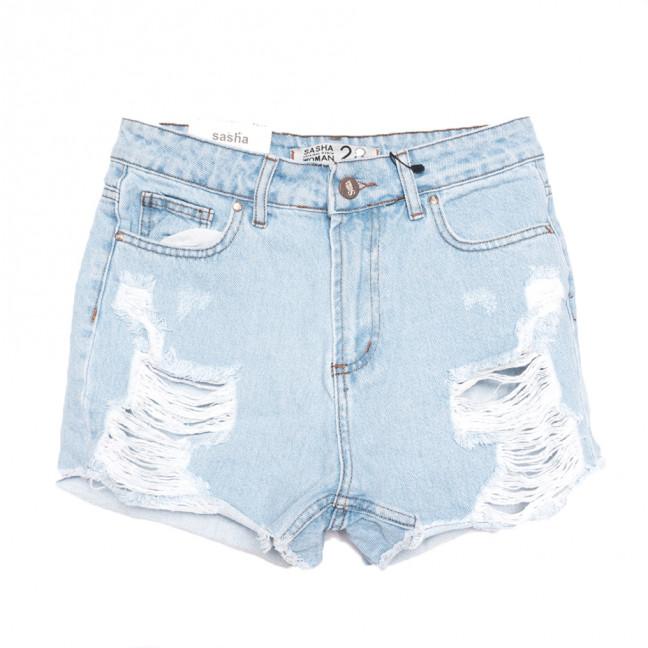 0155 Sasha шорты джинсовые женские с рванкой синие коттоновые (26-31, 8 ед.) Sasha: артикул 1108467