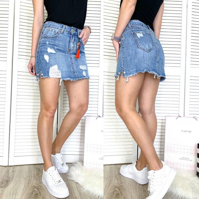 3702 New Jeans юбка джинсовая с рванкой синяя весенняя коттоновая (25-30, 6 ед.) New Jeans: артикул 1107010