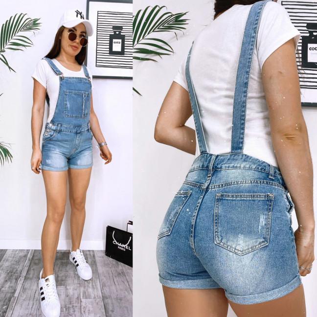 3672 New Jeans комбинезон-шорты джинсовый женский с царапками синий весенний коттоновый (25-30, 6 ед.) New Jeans: артикул 1106982