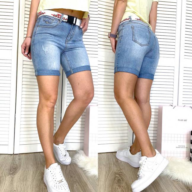 3721-02 New Jeans шорты джинсовые женские с царапками синие коттоновые (25,26,28, 3 ед.) New Jeans: артикул 1110538
