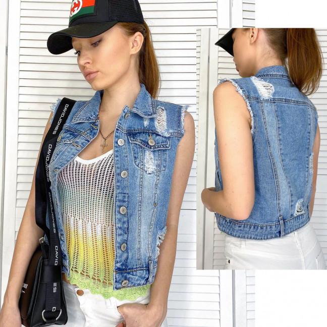 0821 New jeans жилетка джинсовая женская синяя весенняя коттоновая (ХS-XXL, 6 ед.) New Jeans: артикул 1103749