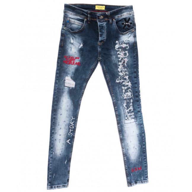 6010 Xway джинсы мужские с рванкой синие весенние стрейчевые (29-36, 8 ед.) Xway: артикул 1107797