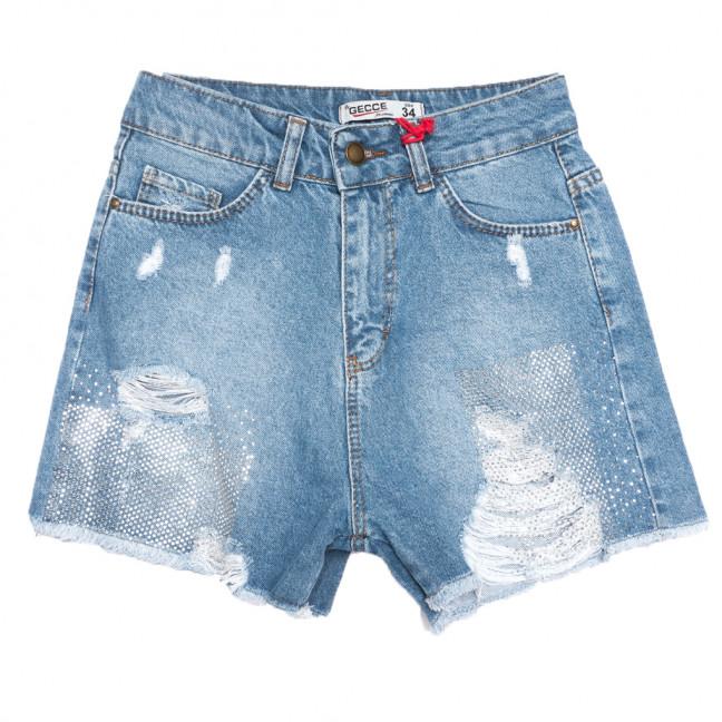 0741 Gecce шорты джинсовые женские с рванкой синие коттоновые (34-44,евро, 6 ед.) Gecce: артикул 1108466