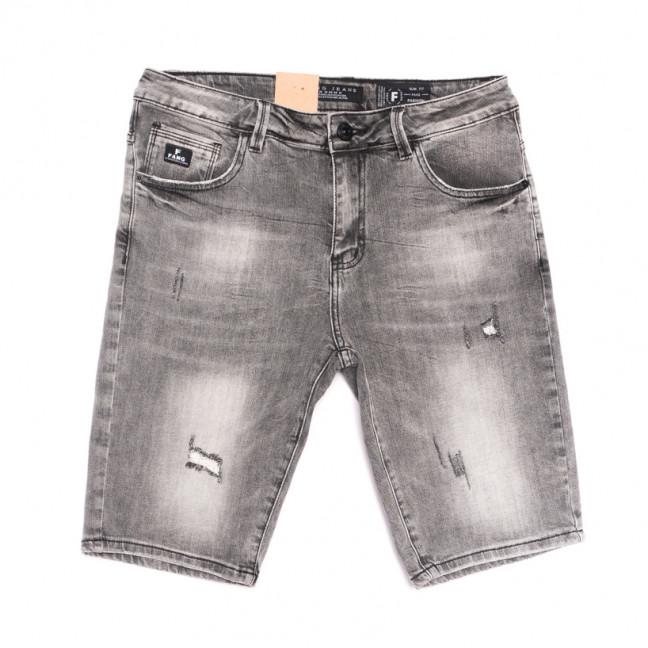 2262 Fang шорты джинсовые мужские полубатальные с рванкой серые стрейчевые (32-40, 8 ед.) Fang: артикул 1107650