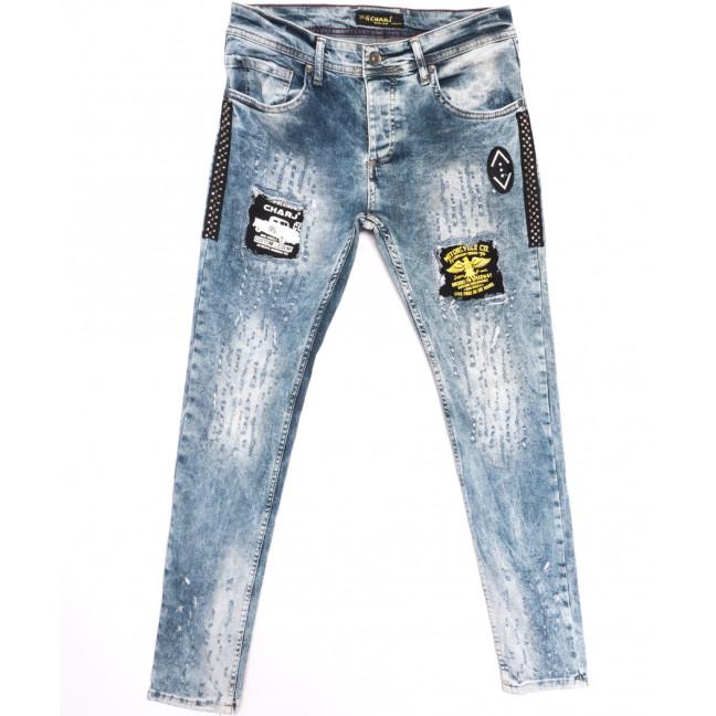6404 Charj джинсы мужские с рванкой синие весенние стрейчевые (29-36, 8 ед.) Charj: артикул 1107788