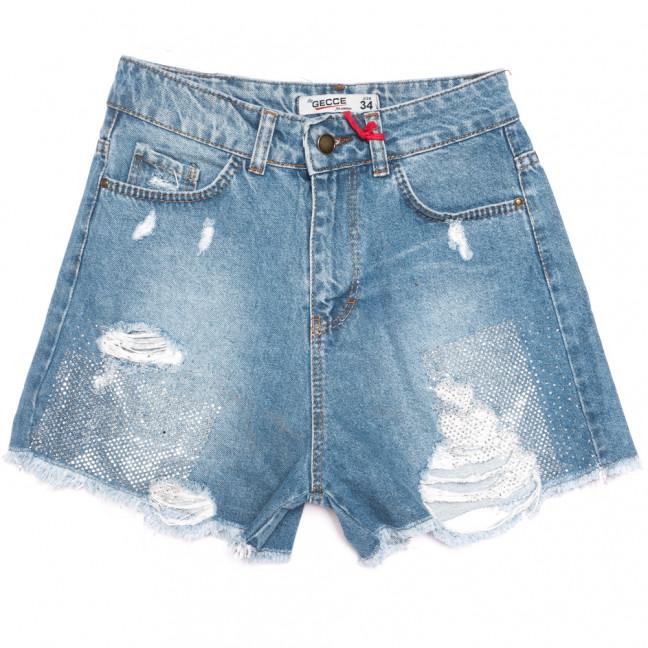 5001 Gecce шорты джинсовые женские с рванкой синие коттоновые (34-42,евро, 6 ед.) Gecce: артикул 1108288