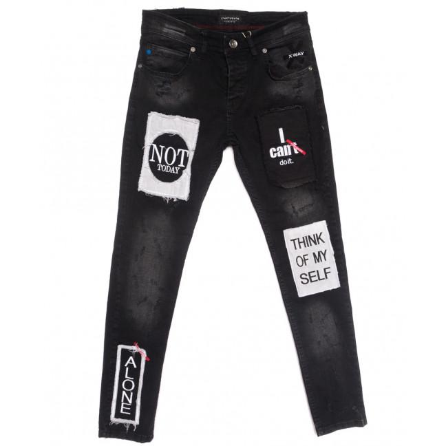 6018 Xway джинсы мужские с царапками черные весенние стрейчевые (29-36, 8 ед.)8 Xway: артикул 1107796