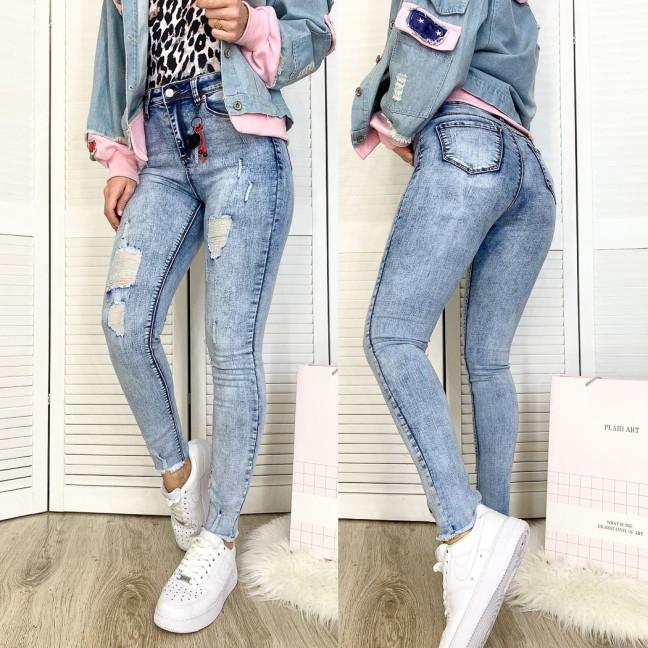 3578 New jeans американка голубая с царапками весенняя стрейчевая (25-30, 6 ед.) New Jeans: артикул 1102272