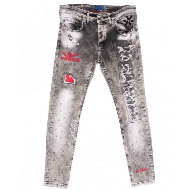 6017 Xway джинсы мужские с царапками серые весенние стрейчевые (29-36, 8 ед.) Xway: артикул 1107794