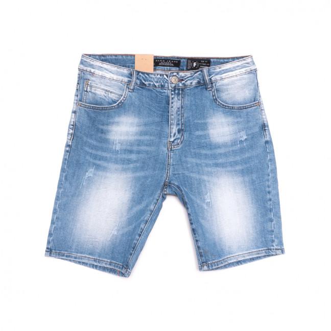 2226 Fang шорты джинсовые мужские с царапками синие стрейчевые (30-38, 8 ед.) Fang: артикул 1107637