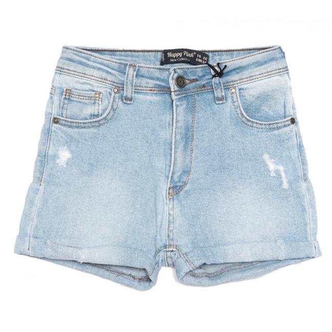 0628 Happy Pink шорты джинсовые женские c рванкой синие стрейчевые (26-31, 8 ед.) Happy Pink: артикул 1108486