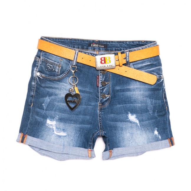 6213 Like шорты джинсовые женские батальные с рванкой синие стрейчевые (31-38, 6 ед.) Like: артикул 1107659