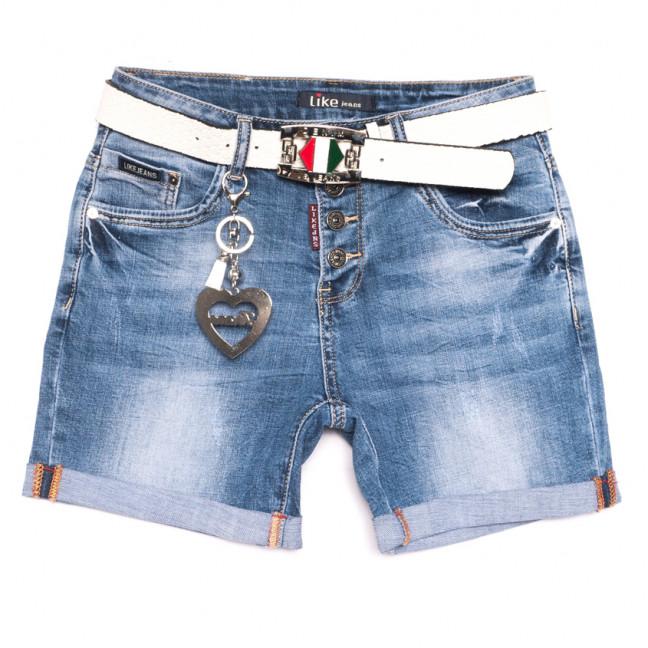 6208 Like шорты джинсовые женские с царапками синие стрейчевые (25-30, 6 ед.) Like: артикул 1107656