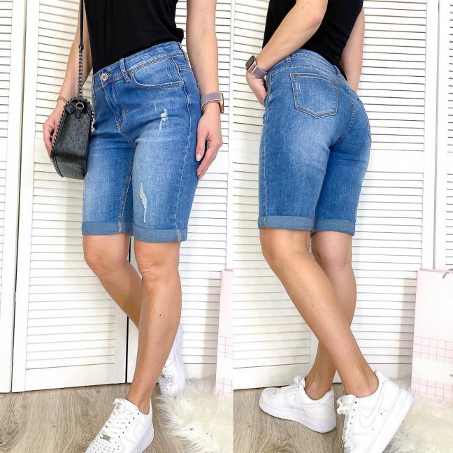 3736 New Jeans шорты джинсовые женские полубатальные с рванкой синие стрейчевые (28-33, 6 ед.) New Jeans: артикул 1107041