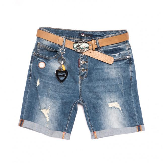 6211 Like шорты джинсовые женские батальные с рванкой синие стрейчевые (30-36, 6 ед.) Like: артикул 1107663