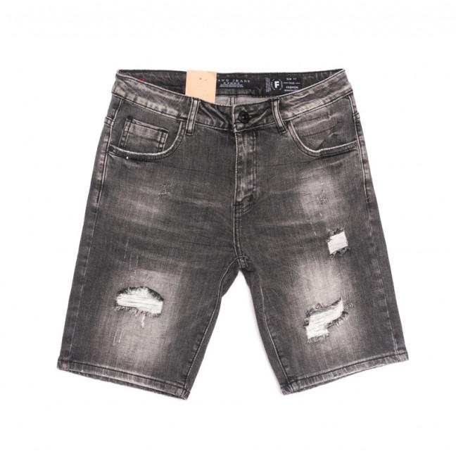 2259 Fang шорты джинсовые мужские с рванкой серые стрейчевые (30-38, 8 ед.) Fang: артикул 1107652