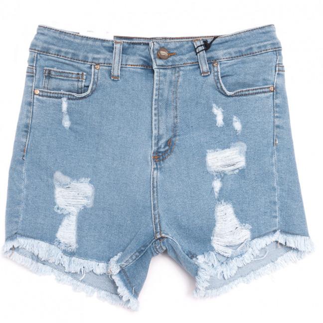19170 Sasha шорты джинсовые женские с рванкой синие стрейчевые (26-31, 8 ед.) Sasha: артикул 1109308