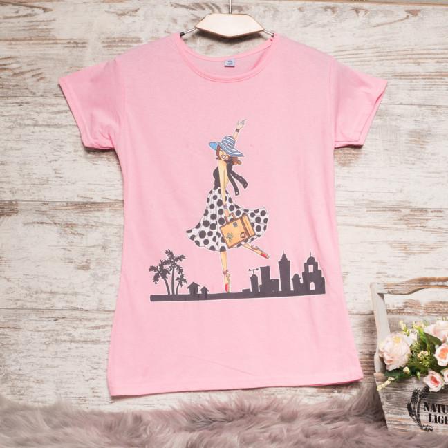 Розовая женская футболка с принтом Carla Mara 3211-5 Carla Mara: артикул 1110648
