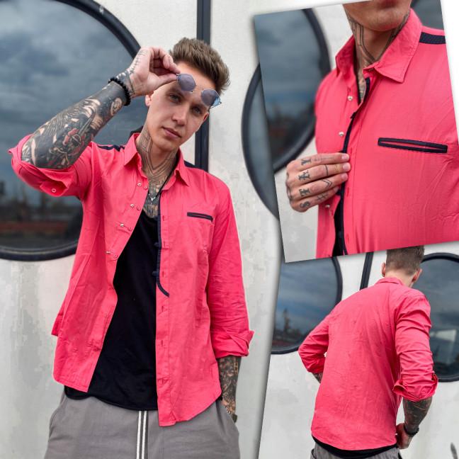 7598 Noseda рубашка мужская коралловая (S-XXL, 5 ед.) Noseda: артикул 1109226