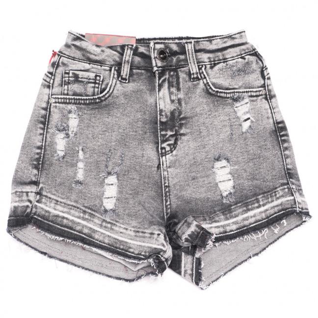 0807 Red Moon шорты джинсовые женские с рванкой серые стрейчевые (25-28, 6 ед.) Red Moon: артикул 1109160