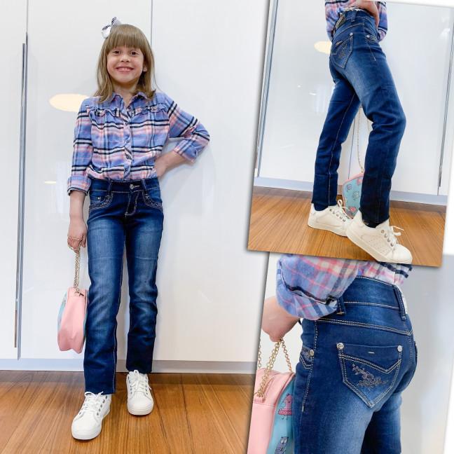 2023 Lafeidina джинсы на девочку с декоративной отделкой весенние стрейчевые (21-27, 7 ед.) Lafeidina: артикул 1109276
