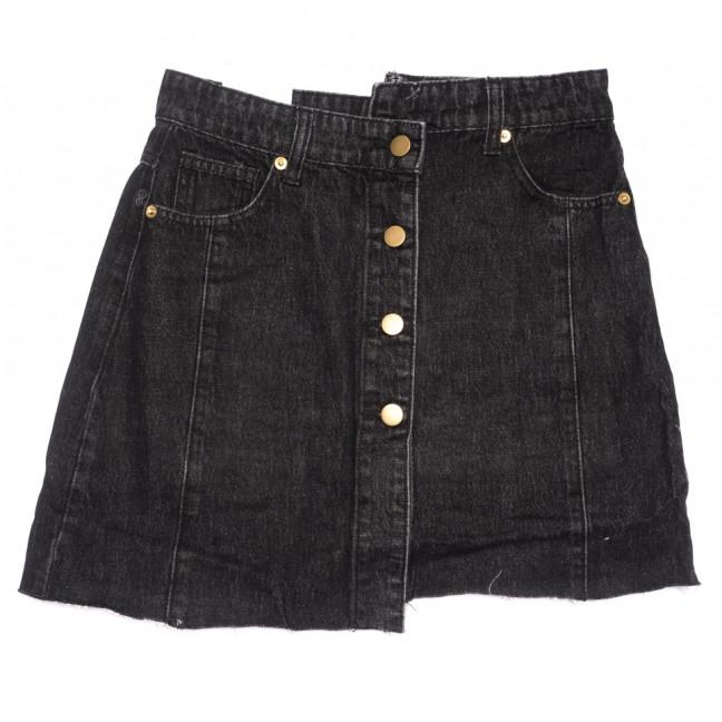 9114 Saint Wish юбка джинсовая на пуговицах черная летняя коттоновая (25-30, 6 ед.) Saint Wish: артикул 1108252