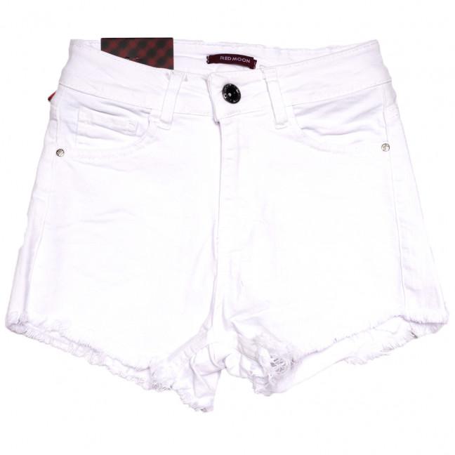 0813 без бахромы Red Moon шорты джинсовые женские белые стрейчевые (25-30, 6 ед.) Red Moon: артикул 1109165